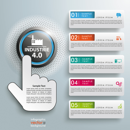 manufactory: Button with german text Industrie, translate Industry 4.0, on the gray background. Eps 10 vector file.