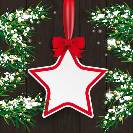 ramas de abeto de Navidad con la etiqueta engomada precio y nieve en el fondo de madera. EPS 10 del vector.