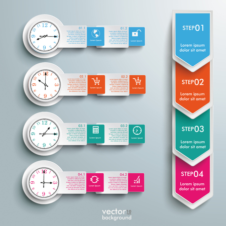 quadrat: Timetable infographic on the gray background. Eps 10 vector file.
