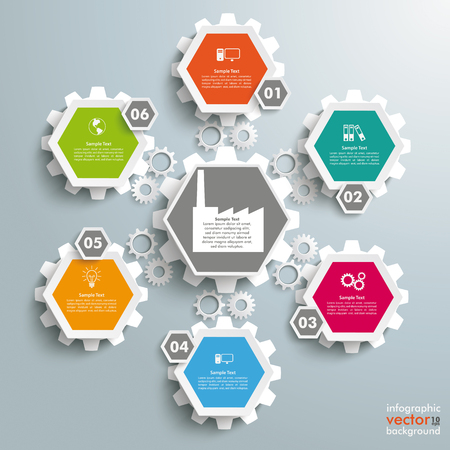 iterative: Infographic with honeycomb structure, manufactory and gears on the gray background. Eps 10 vector file.
