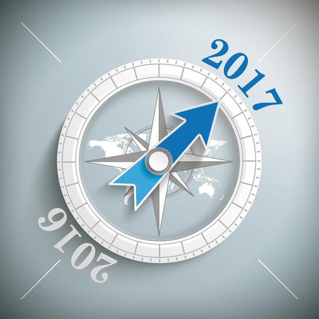 the end of the year: Compass with year 2017 on the gray background. Eps 10 vector file.