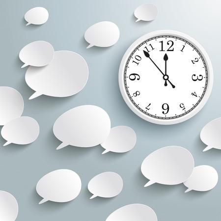 dialogo: blanca del discurso burbujas con un reloj en el fondo gris. EPS 10 del vector.
