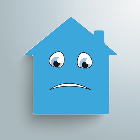 sadly: House with sadly face on the gray background. Eps 10 vector file.