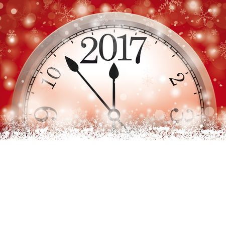 watch new year: Christmas card with snowflakes, clock and date 2017 on the red background. Eps 10 vector file.