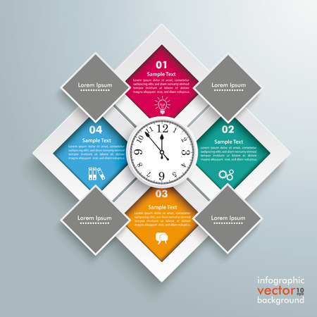 quadrate: Template rectangles design with a clock in the centre on the gray background. Eps 10 vector file. Illustration