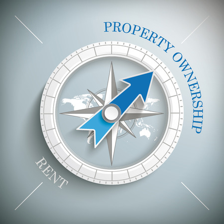 reside: Compass with text, Property Ownership and Rent. Eps 10 vector file.