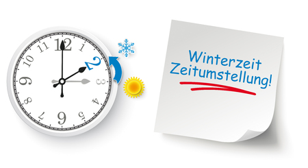 Germin text Winterzeit Zeitumstellung, translate Return To Standard Time Eps 10 vector file. Illustration