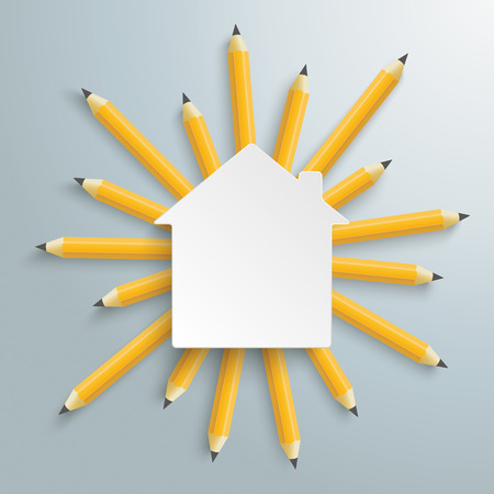 Pencils with white house building on the gray background. Eps 10 vector file. Illustration