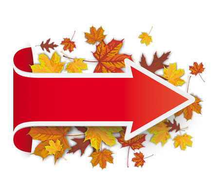 onlineshop: Red arrow with with autumn foliage. Eps 10 vector file. Illustration