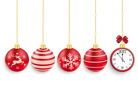 snow chain: 5 red christmas baubles with a clock and date 2017 on the white background. Eps 10 vector file. Illustration