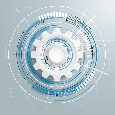 Futuristic gear wheel with electronic schematicon the gray background. Eps 10 vector file.