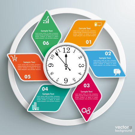 Infographic design with rhombus and a clock on the gray background. Eps 10 vector file.