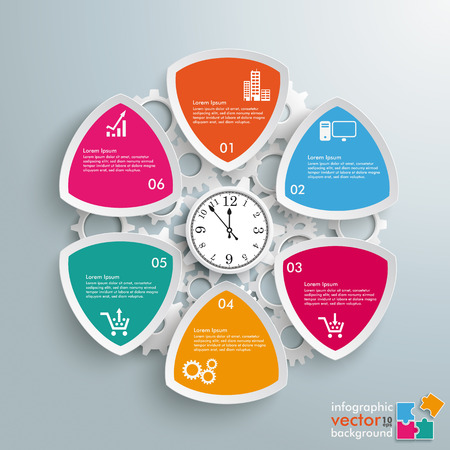 Infographic design with clock on the gray background. Eps 10 vector file.