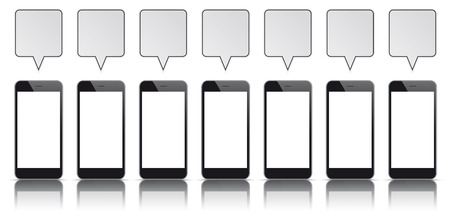 tft: 7 black smartphones with blank screens and speech bubbles.
