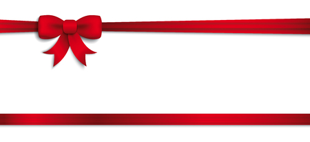 Header with red ribbon and bow on the white. Eps 10 vector file.