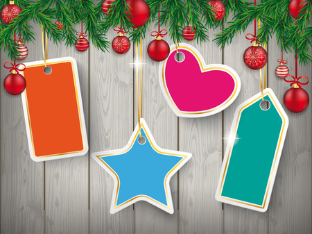 Christmas card with shopmarks, twigs and baubles on the wooden background. Eps 10 vector file.