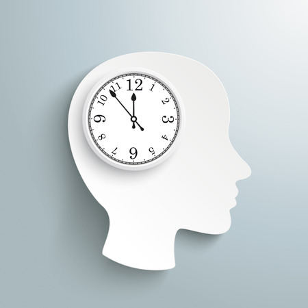 employe: Human head with a clock on the gray background. Eps 10 vector file.