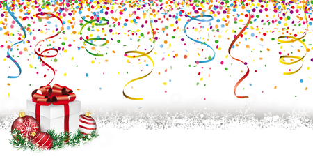 Snowbanner with gift, baubles, confetti and ribbons on the white. Eps 10 vector file.