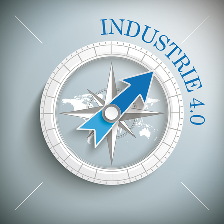 industrie: Compass with german text Industrie, translate Industry 4.0, on the gray background. Eps 10 vector file.