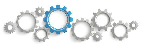 industry: Infographic header with gray and blue gears on the white background. Eps 10 vector file.