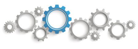 infografica: intestazione Infografica con ingranaggi grigio e blu su sfondo bianco. Eps 10 file vettoriale. Vettoriali