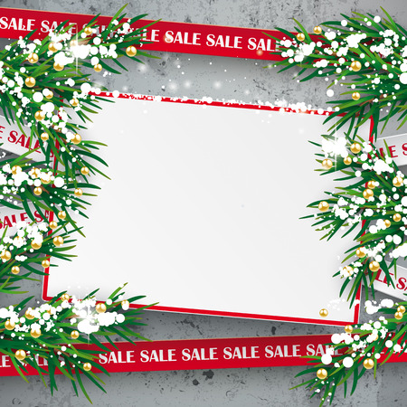 Christmas sale background with twigs, snow and board on the concrete. Eps 10 vector file. Illustration