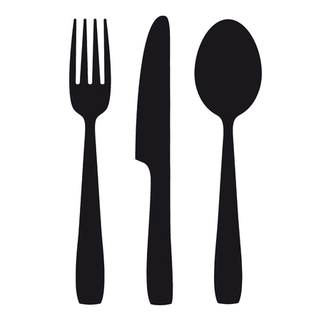 knife fork: Black shapes of knife, spoon and fork. Eps 10 vector file.