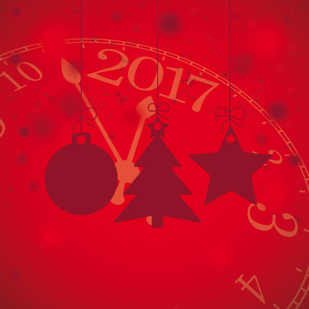 watch new year: Christmas baubles with snowflakes and clock on the red background. Eps 10 vector file. Illustration