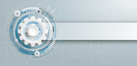 Futuristic gear wheel with electronic schematicon and banner on the gray background. Eps 10 vector file.