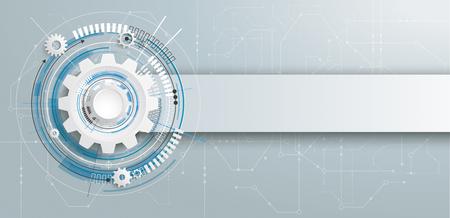Futurystyczny koło zębate z elektronicznym schematicon i baner na szarym tle. EPS 10 wektor pliku.