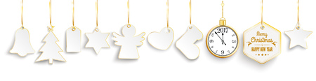 watch new year: Golden price stickers for christmas on the white background. Eps 10 vector file.