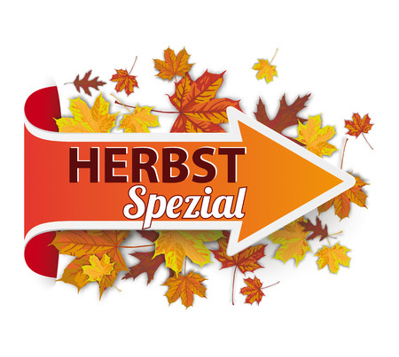 German text Herbstspezial, translate Autumn Special Eps 10 vector file.