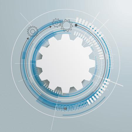 Futuristische Zahnrad mit elektronischen schematicon der grauen Hintergrund. Eps 10 Vektor-Datei. Vektorgrafik
