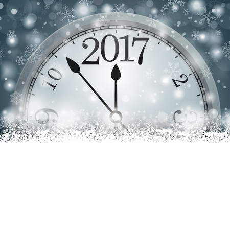 silvester: Christmas card with snowflakes, clock and date 2017 on the gray background. Eps 10 vector file.