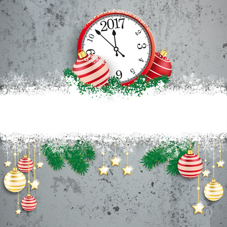 watch new year: Christmas cover with white snowflakes, baubles and clock. Eps 10 vector file. Illustration