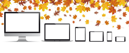 tablet computer: Autumn foliage with monitor, notebook, smartphone and tablet on the white background.  Eps 10 vector file.