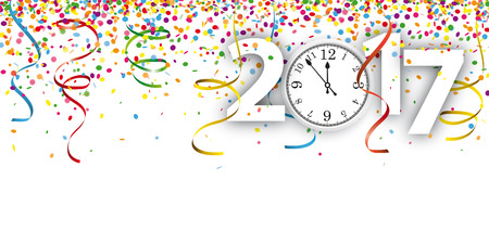 parade confetti: Colored confetti with ribbons, clock and date 2017 on the white. Eps 10 vector file. Illustration