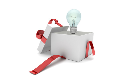 Opened gift carton with bulb on the white. 3d illustration.