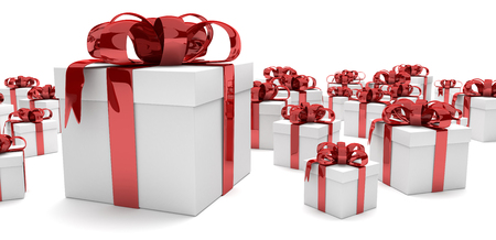 cartons: Gift cartons with red ribbons on the white. 3d illustration.