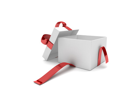 gift ribbon: Opened gift carton with red ribbon on the white. 3d illustration.