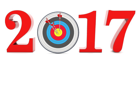 changing: A target with arrows and year 2017 on the white. 3d illustration.