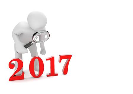 Personaggio di cartone bianco con lente d'ingrandimento e l'anno 2017. Illustrazione 3D. Archivio Fotografico