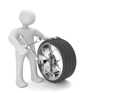 Manikin with spanner and tire on the white. 3d illustration.