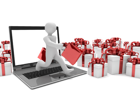 red packet: Running manikin with shopping bags, notebook and gifts on the white. 3d illustration. Stock Photo