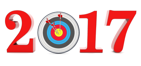 A target with arrows and year 2017 on the white. 3d illustration.