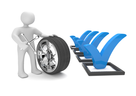 snow tires: White cartoon character with chromed felly and checklist on the white. 3d illustration.