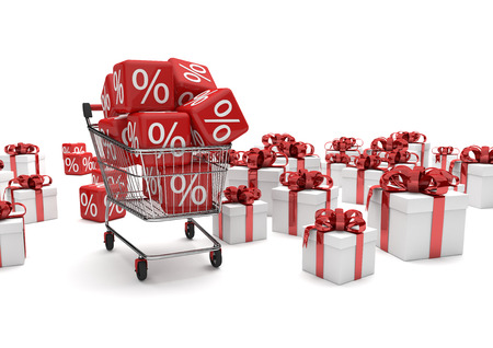 Shopping cart with percent cubes and gift cartons on the white. 3d illustration. Stock Photo
