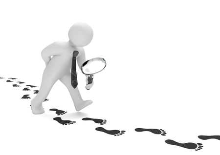 searching: Manikin with loupe and footprints on the white background. 3d illustration.