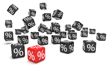 rubbish cart: Black and red percent cubes on the white background. 3d illustration.