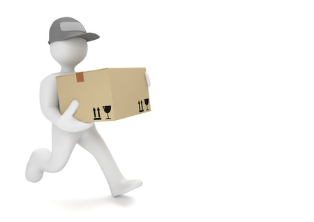 deliver: White cartoon characters runs with big parcel. 3d illustration.